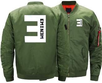 MALETTN Men's Bomber Jackets Printed Warm Zipper Jacket Thicken Men Coats L