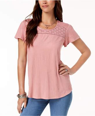 Style&Co. Style & Co Petite Crochet-Trim Flutter-Sleeve Top