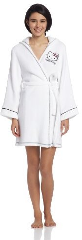 Hello Kitty Women's Plush Hour Hooded Solid Robe