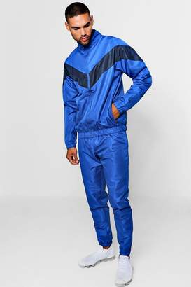boohoo Shell Tracksuit With Contrast Panel