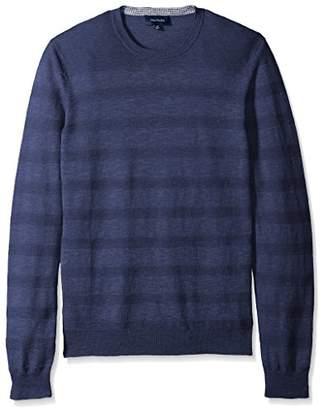 Thirty Five Kent Men's Long Sleeve Textured Stripe Slub Knit Crewneck