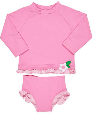 Florence Eiseman Ruffle-Trim Rash Guard w/ Matching Bottoms, Size 6-24 Months