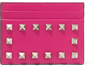 Valentino Garavani The Rockstud Textured-leather Cardholder - Fuchsia