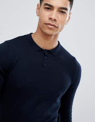 Asos Design Knitted Muscle Polo in Dark Navy