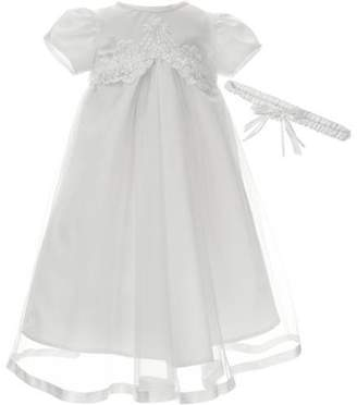 Little Angels Newborn Baby Girl Embroidered Satin Bodice Christening Dress w Mesh Skirt & Floral Headband