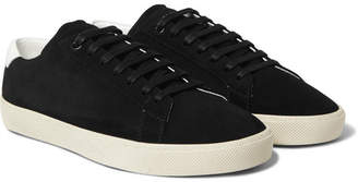 Saint Laurent SL/06 Court Classic Leather-Trimmed Suede Sneakers - Black