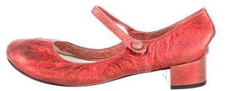 Repetto Metallic Suede Mary Jane Pumps