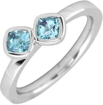 Simply Stacks Sterling Aquamarine Double-SquareGemstone Ring