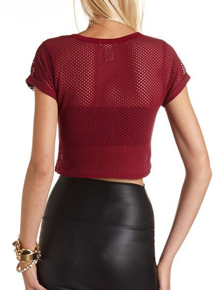 Charlotte Russe 55 Foiled Mesh Crop Jersey