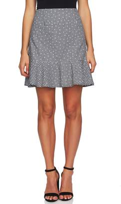 CeCe Floral Gingham Ruffle Cotton Mini Skirt