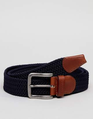Esprit Woven Belt With Leather Detail