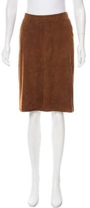 Loro Piana Suede Knee-Length Skirt