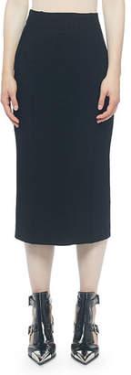 Alexander McQueen Ribbed Back-Slit Pencil Skirt