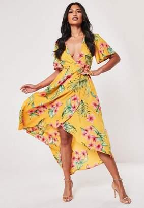 Missguided Mustard Tropical Print Wrap Midi Dress