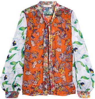 Tory Burch - Kia Pussy-bow Floral-print Silk-chiffon Blouse - Orange $350 thestylecure.com