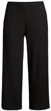 Eileen Fisher Rib-Knit Cropped Straight-Leg Pants
