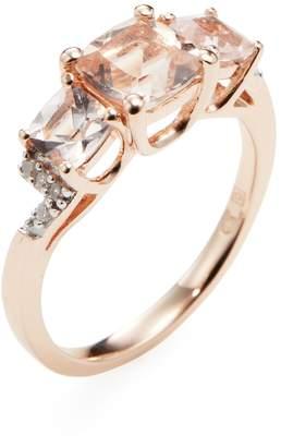 Rina Limor Fine Jewelry Women's Rose-Plated Sterling Silver Morganite & Diamond Trio Ring