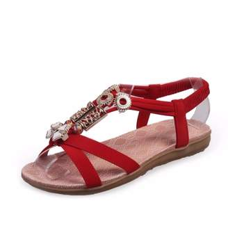 Shoes CN Women's Summer Beach Wear Casual Vacation Sandals T-Strap Slingback Roman Flats Flip-flop Shoes For Girls(,SIZE 6)