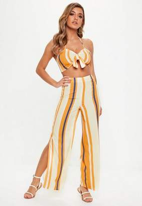 Missguided Orange Striped Tie Front Strappy Co Ord