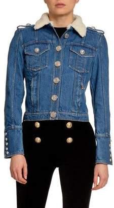 Balmain Raw Denim Jacket w/ Wool Collar