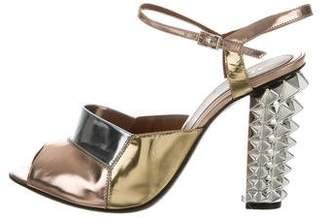 Fendi Metallic Ankle Strap Sandals