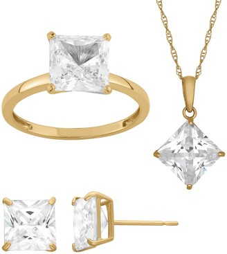 14K Gold Over Sterling Silver Princess Solitaire Pendant Necklace, Ring & Stud Earring Set