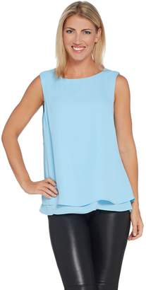 Joan Rivers Classics Collection Joan Rivers Double Layer Crepe Tank with Split Back