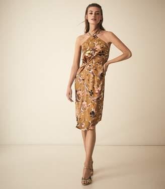 Reiss PAOLA PRINT HALTER NECK COCKTAIL DRESS Multi