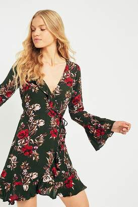 Pins & Needles Floral Ruffle Trim Wrap Dress