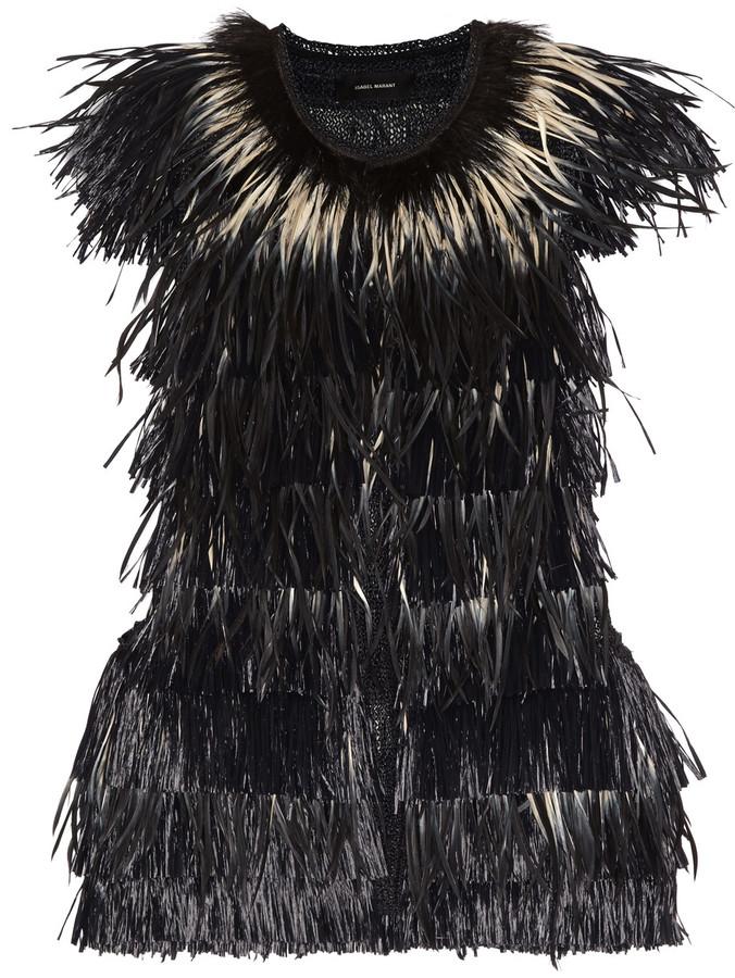 Isabel MarantIsabel Marant Cadzi feather and faux raffia vest