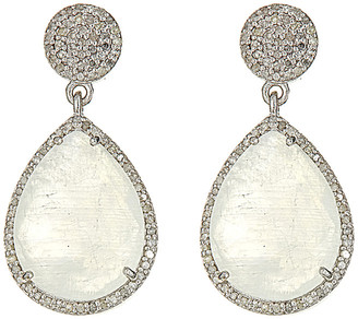Forever Creations USA Inc. Forever Creations Silver 13.70 Ct. Tw. Diamond & Moonstone Drop Earrings