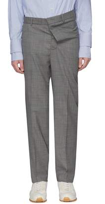 Y/Project Asymmetric waist wool herringbone check plaid pants