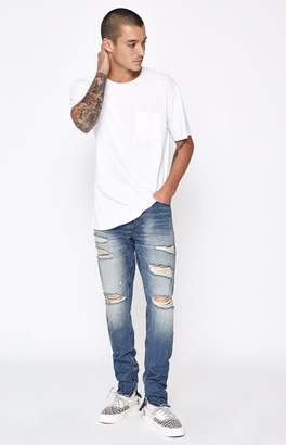 PacSun Stacked Skinny Vertical Stretch Zip Destroy Indigo Jeans