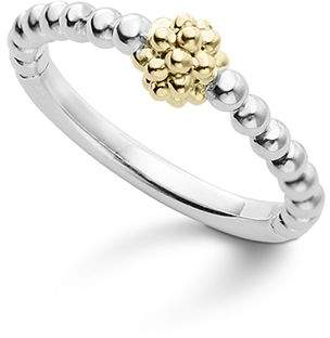 Lagos Caviar Icon 18K Gold and Sterling Silver Bead Cluster Stacking Ring