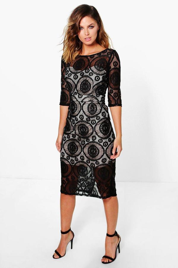 Boohoo Elisa Low Back Lace Midi Dress - ShopStyle.co.uk Women