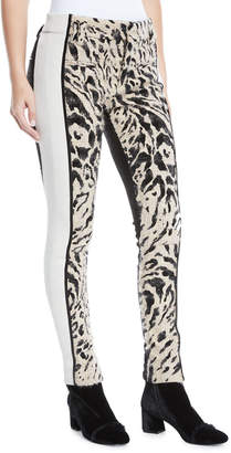 Haider Ackermann Leopard-Print Colorblocked Skinny Pants