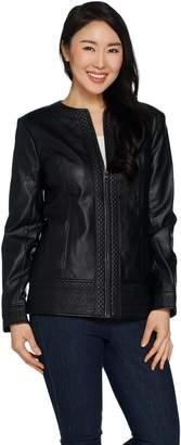 Denim & Co. Studio by Faux Leather Jacket w/ Embroidery Trim