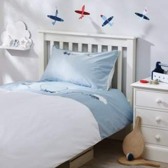 The White Company Planes Applique Bed Linen Set, Blue, Cot Bed