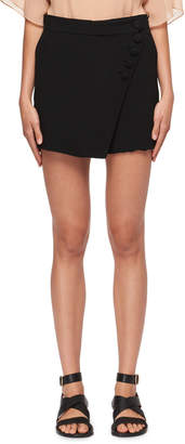 Chloé Diagonal-Front Crepe Mini Short-Skirt