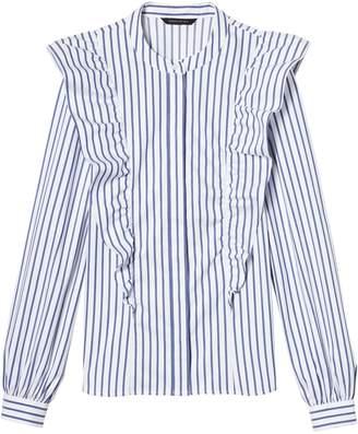 Banana Republic Petite Riley Tailored-Fit Stripe Ruffle-Front Shirt