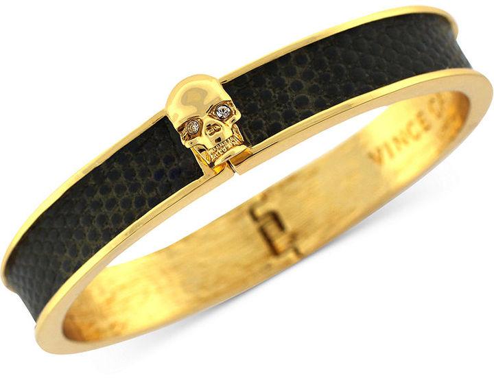 Vince Camuto Bracelet, Gold-Tone Skull and Dark Olive Embossed Leather Hinge Bracelet