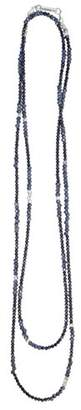 King Baby Studio Women's 925 Sterling Silver Mixed Spinel Beads and Silver Stations Strand Necklace of Length 111.76cm