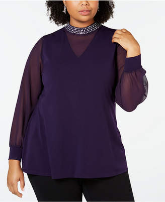 Belldini Black Label Plus Size Embellished Sheer Overlay Tunic
