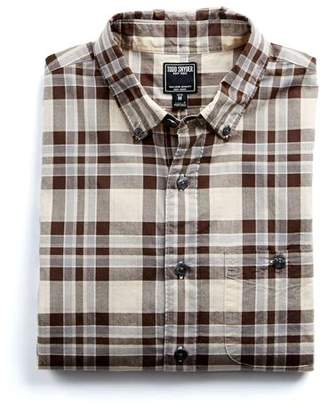 Todd Snyder Cotton Poplin Button Down Collar Shirt in Brown Plaid