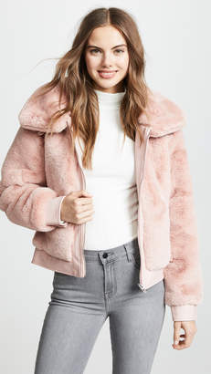 Blank Faux Fur and Vegan Leather Bomber Jacket