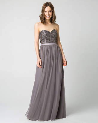Le Château Jewel Embellished Mesh Sweetheart Gown