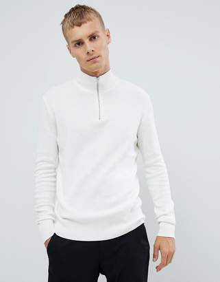 Asos Design DESIGN midweight half zip sweater in white