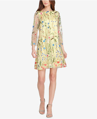 Tahari ASL Floral Embroidered Mesh Shift Dress