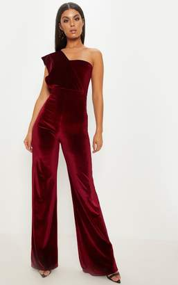 PrettyLittleThing Cobalt Velvet Drape One Shoulder Jumpsuit