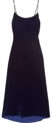 Tibi Silk-trimmed Velvet Midi Dress - Navy